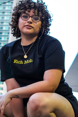 Rich Mob Tee- Black/Yellow