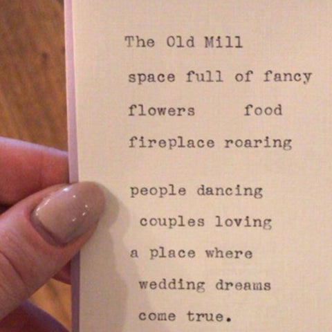 The Old Mill Wedding Poetry