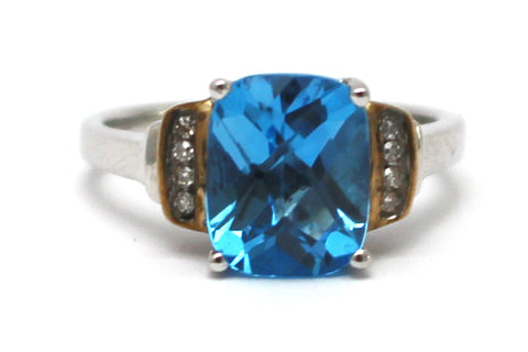 Blue Topaz with Diamonds Ring in Sterling Silver and 10KY