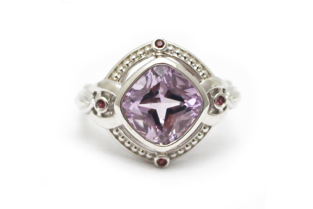 Tourmaline and Rose de France Ring in Sterling Silver