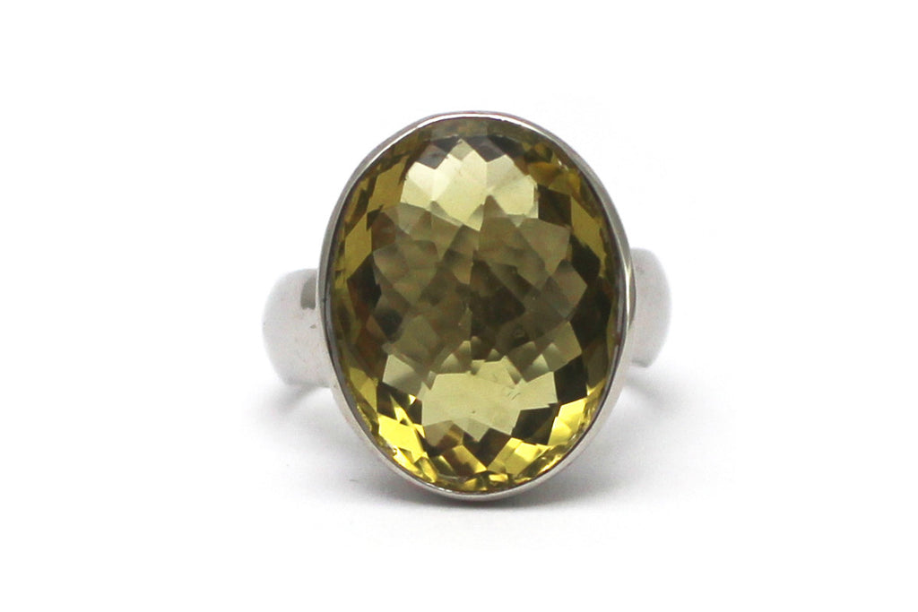 Lime Citrine Ring in Sterling Silver