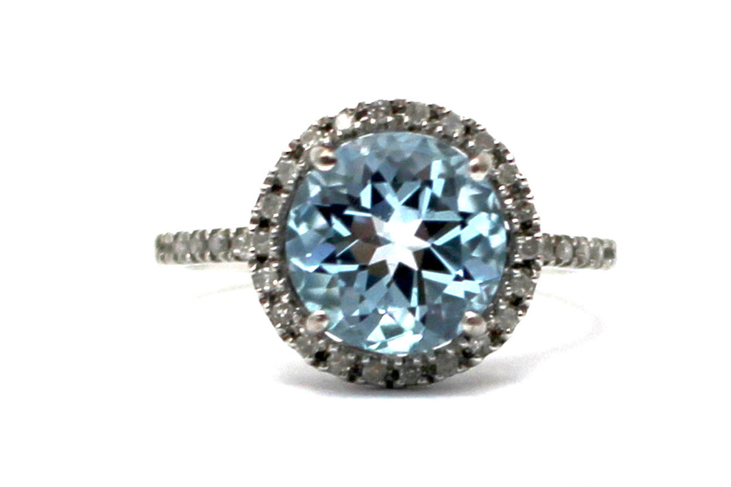 Diamond and Blue Topaz Ring in Sterling Silver