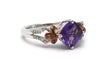 Amethyst with Diamond Ring in 10 KY and Sterling Silver