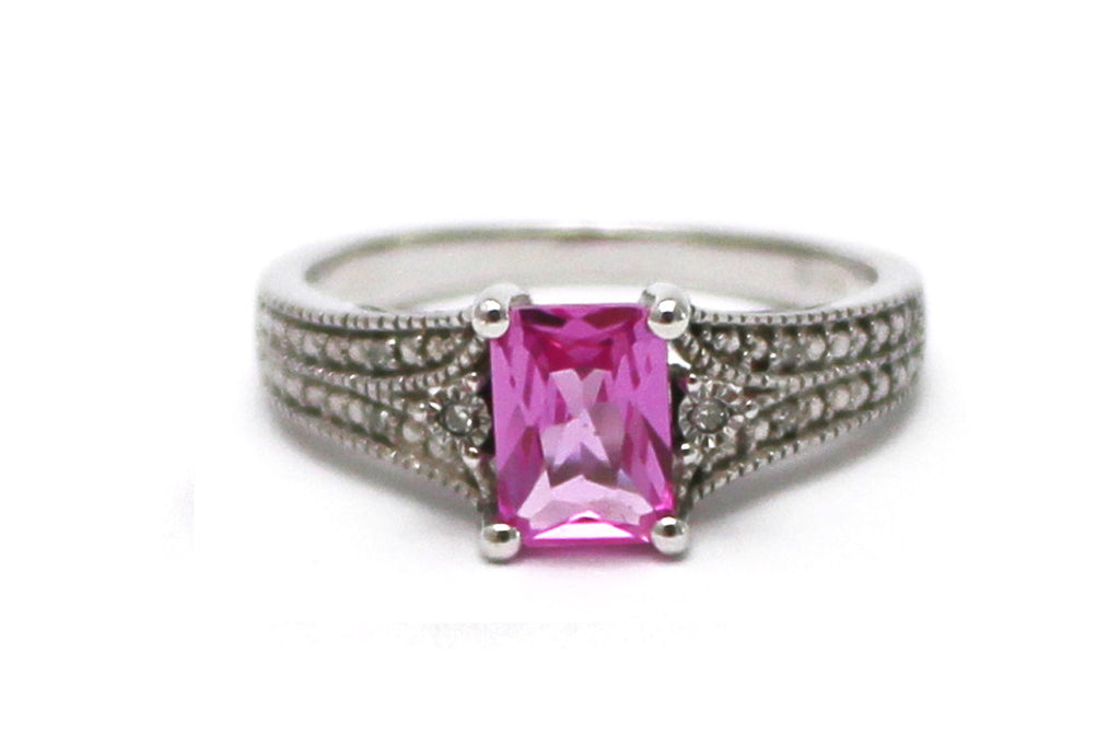 Diamond and Pink Topaz Sterling Silver Ring