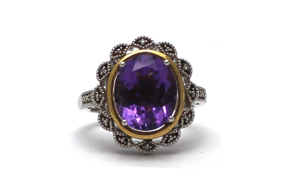 Diamond and Amethyst Ring in 14KY and Sterling Silver