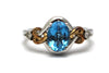 Swiss Topaz with Diamonds Ring in Sterling Silver and 14KY