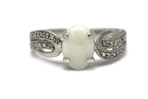 Opal with Diamond and Padparadscha Ring in Sterling Silver