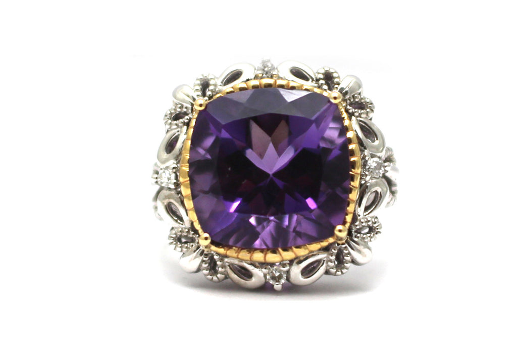Amethyst with Diamond Ring in Sterling Silver and 14KY
