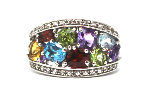 Diamond and Multi-gemstone Ring in Sterling Silver