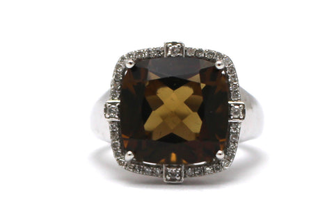 Smoky Topaz with Diamond Ring in Sterling Silver