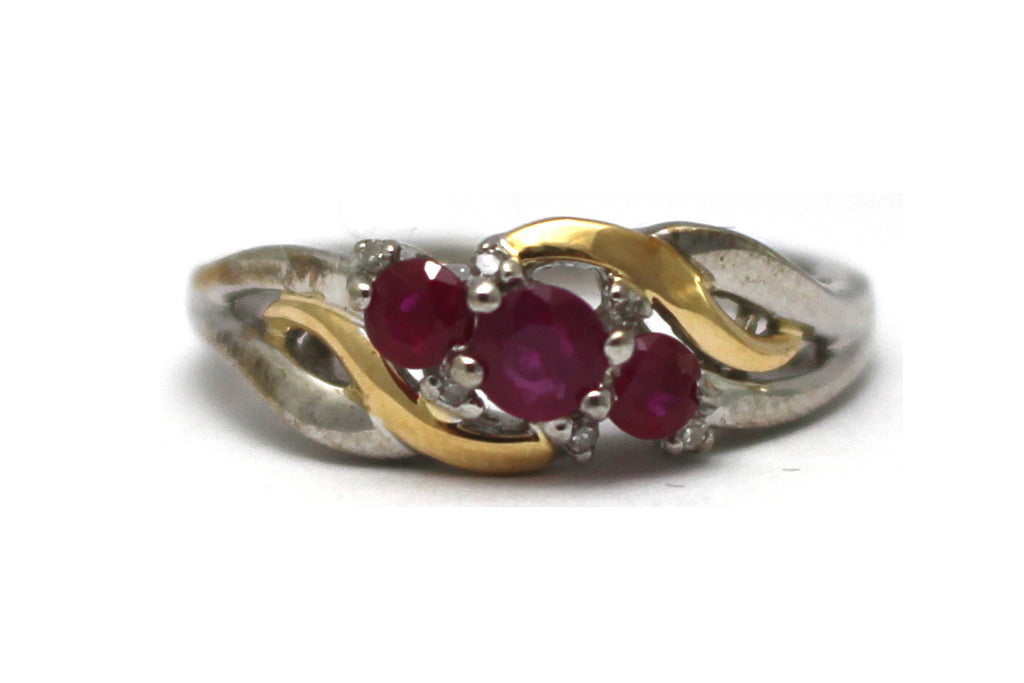 Ruby and Diamond Ring in Sterling Silver and 14KY