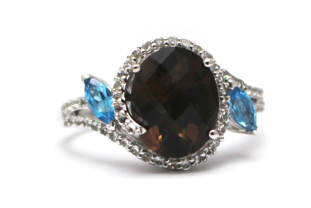 Blue Topaz, Smoky Topaz and Diamond Ring in Sterling Silver