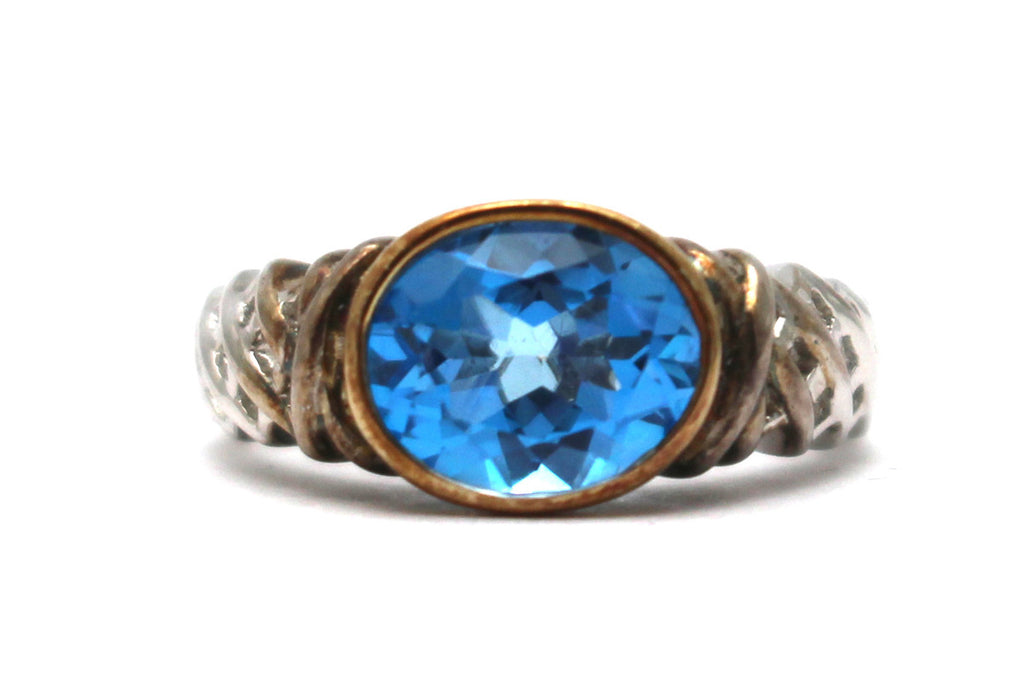 Swiss Blue Topaz Ring in 10 KY and Sterling Silver