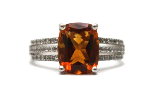 Citrine and White Topaz Ring in Sterling Silver