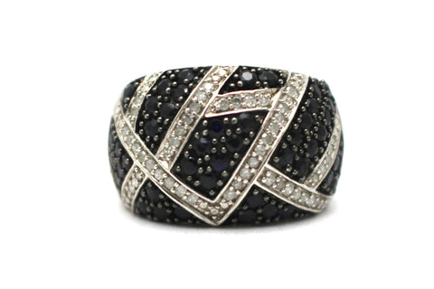 Black Sapphire and Diamond Ring in Sterling Silver