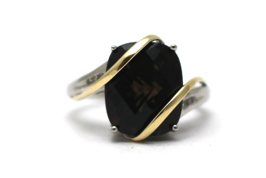Smoky Topaz and Diamond Ring in Sterling Silver and 14KY