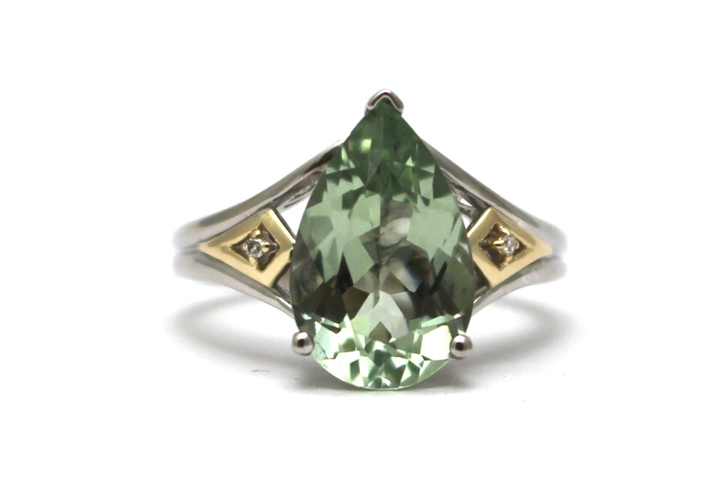 Green Amethyst and Diamond Ring in Sterling Silver and 14KY