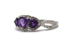Diamond and Amethyst Ring in Sterling Silver