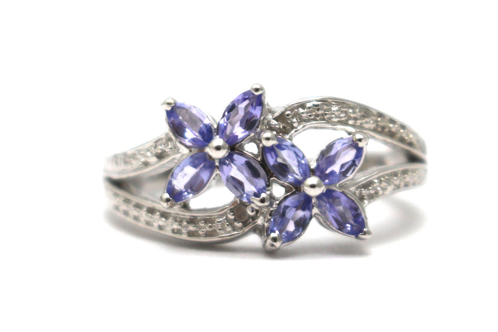 Tanzanite Ring in Platinum over Sterling Silver