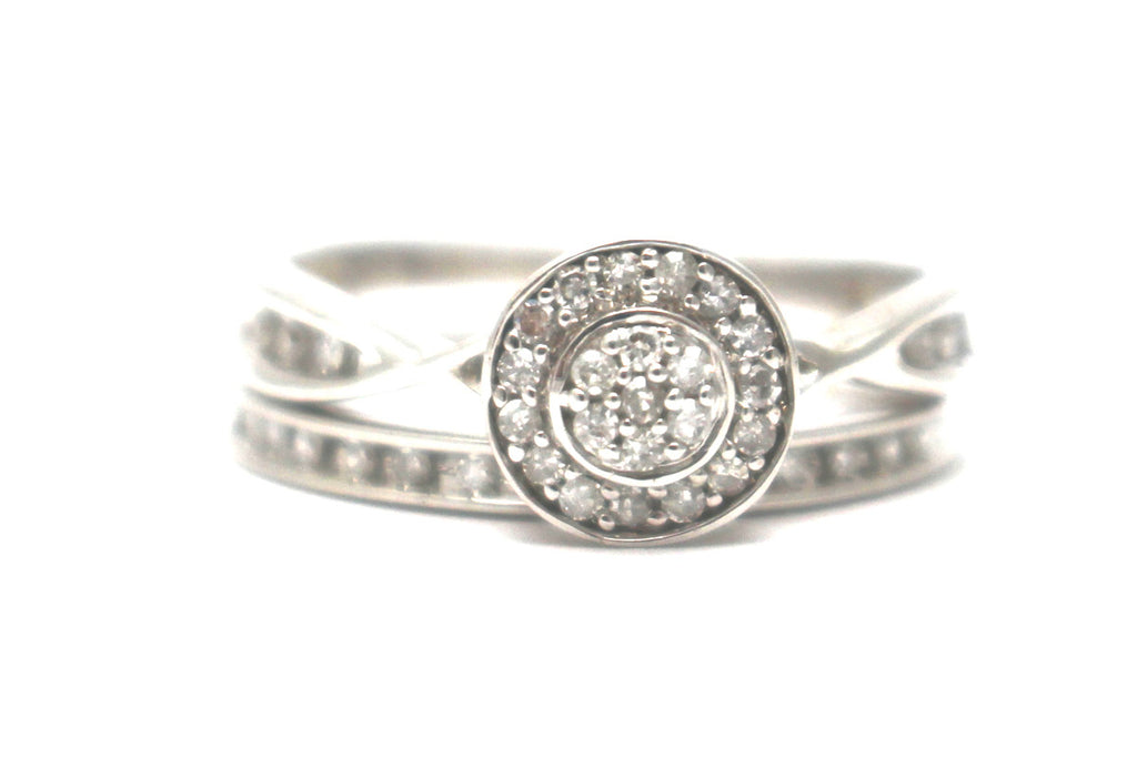 2PC Diamond Ring Set in Sterling Silver