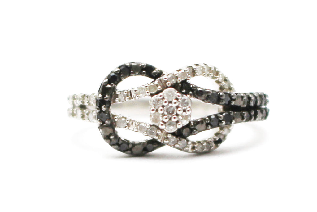 Black and White Diamond Ring in Platinum Plated Sterling Silver
