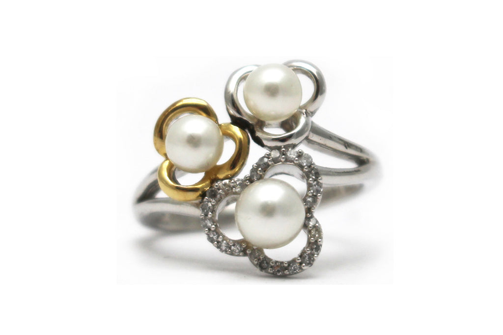 Pearls with Diamond Ring in 14KY and Sterling Silver