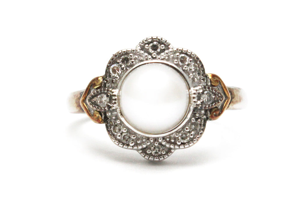 Pearl and Diamond Ring in Sterling Silver and 14KY