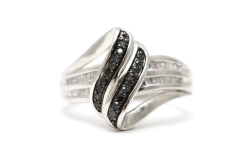 Black and White Diamond Ring in Platinum over Sterling Silver
