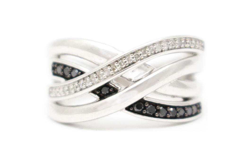 Black and White Diamond Ring in Sterling Silver