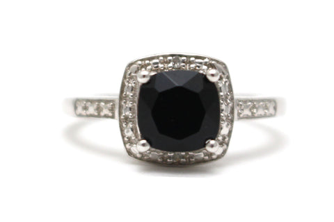 Black Onyx and Diamond Ring in Sterling Silver