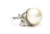 CZ and South Sea Pearl Ring in Platinum over Sterling Silver