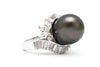 Black Pearl and CZ Ring in Platinum over Sterling Silver