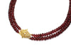 Garnet Necklace with CZ and Gold Over Silver Clasp