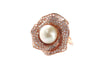 Pearl and CZ Rose Ring in Rose Gold over Sterling Silver