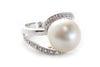 South Sea Pearl and CZ Ring in Platinum over Sterling Silver