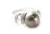 Tahitian Pearl and CZ Ring in Platinum over Sterling Silver