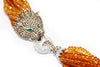 Citrine Necklace With Leopard Head CZ and Platinum over Sterling Silver Clasp