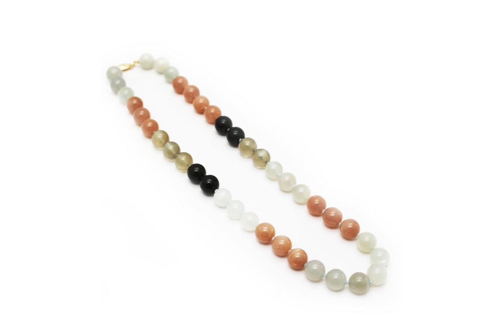 Multi-Color Moonstone Nacklace With 14KY Gold Clasp