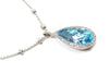 Diamond and Swiss Blue Topaz Nacklace in 14KW