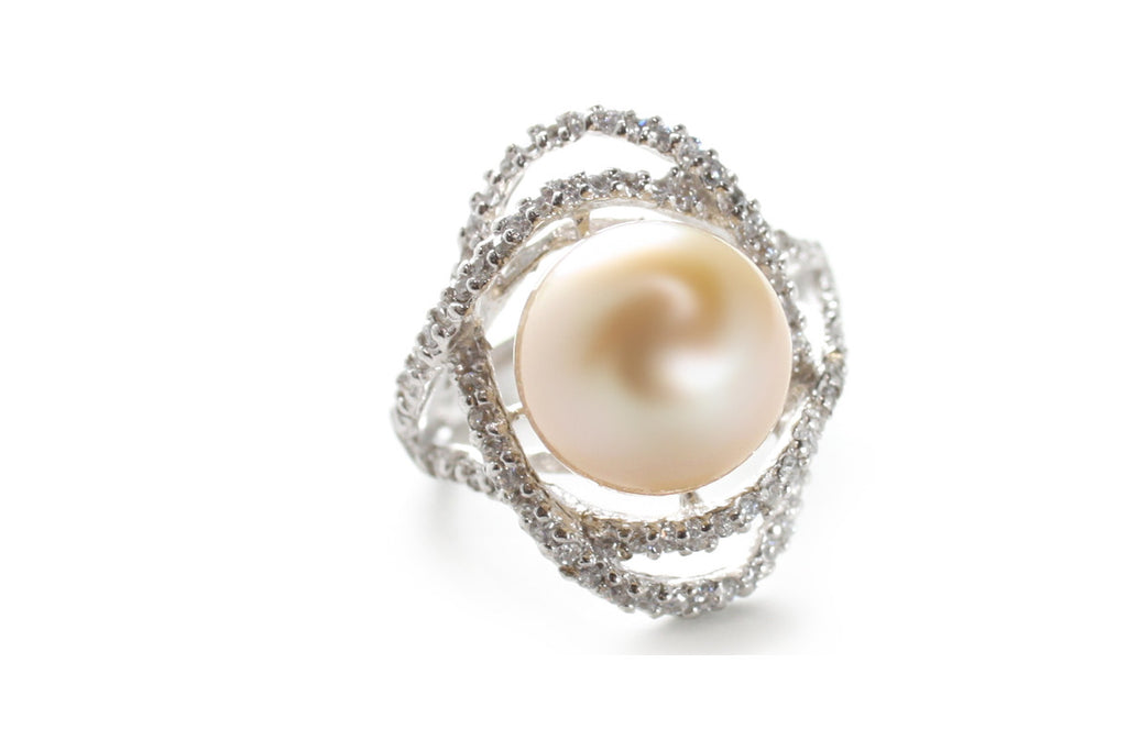 Pearl and CZ Ring in Platinum over Sterling Silver