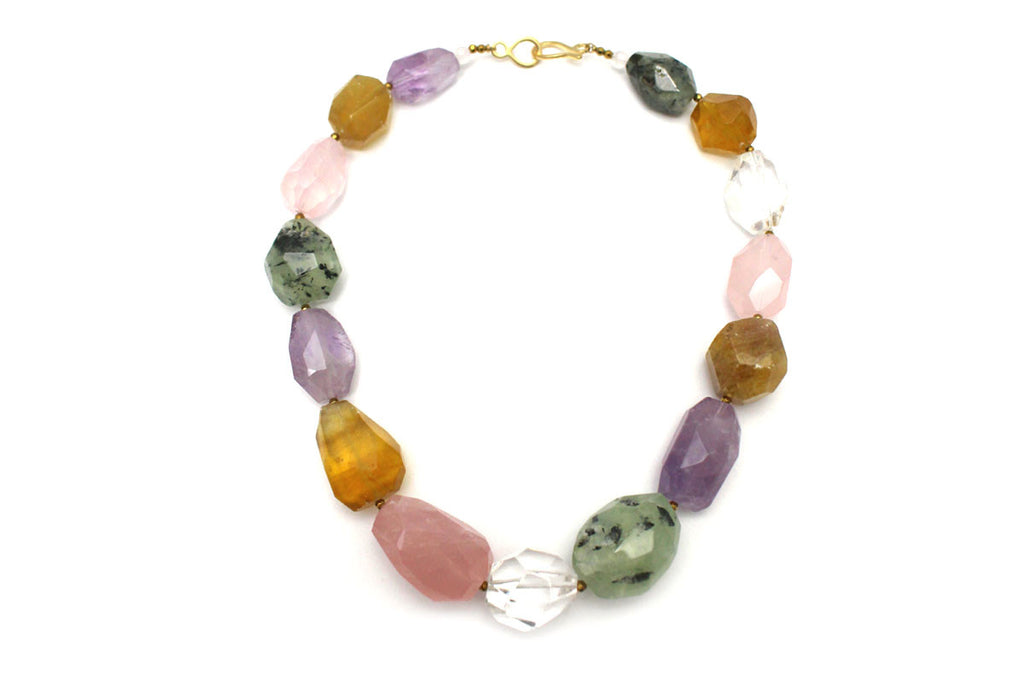 Multi-gemstone Necklace Vermeil over silver