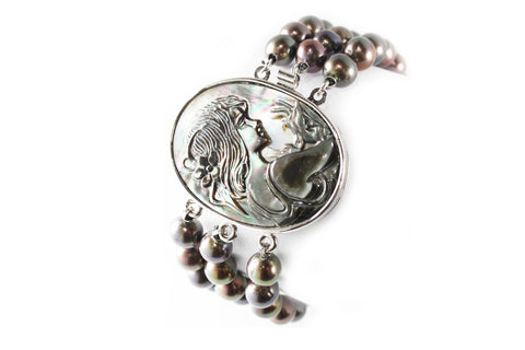 Mother of Pearl Cameo and Black Pearl Bracelet with Sterling Silver