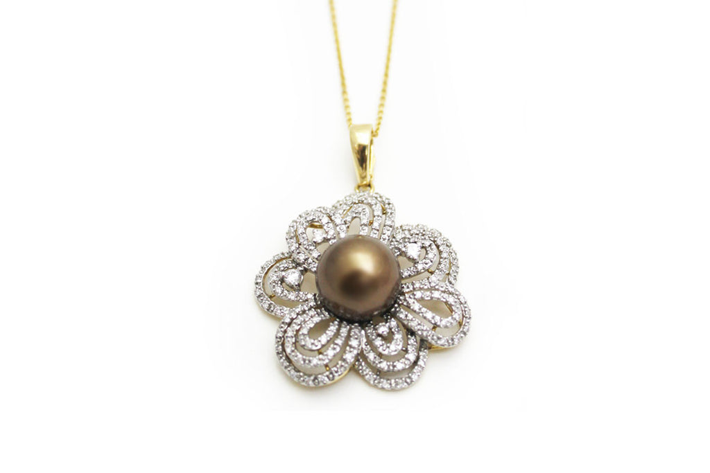 Golden Chocolate Cultured Tahitian Pearls Diamond Pendant 18KT Gold