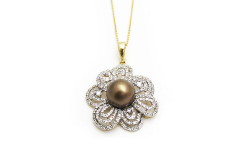 Diamond and Pearl Pendant Necklace with 14KY