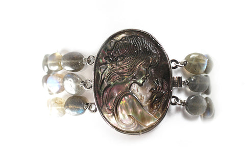 Mother of Pearl Cameo Bracelet with Labradorite and Sterling Silver