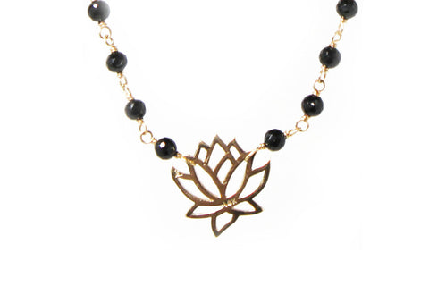 Lotus Flower Charm Necklace with Onyx 14KY