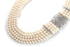 Five Strand Pearl Necklace with CZ and Sterling Silver Clasp