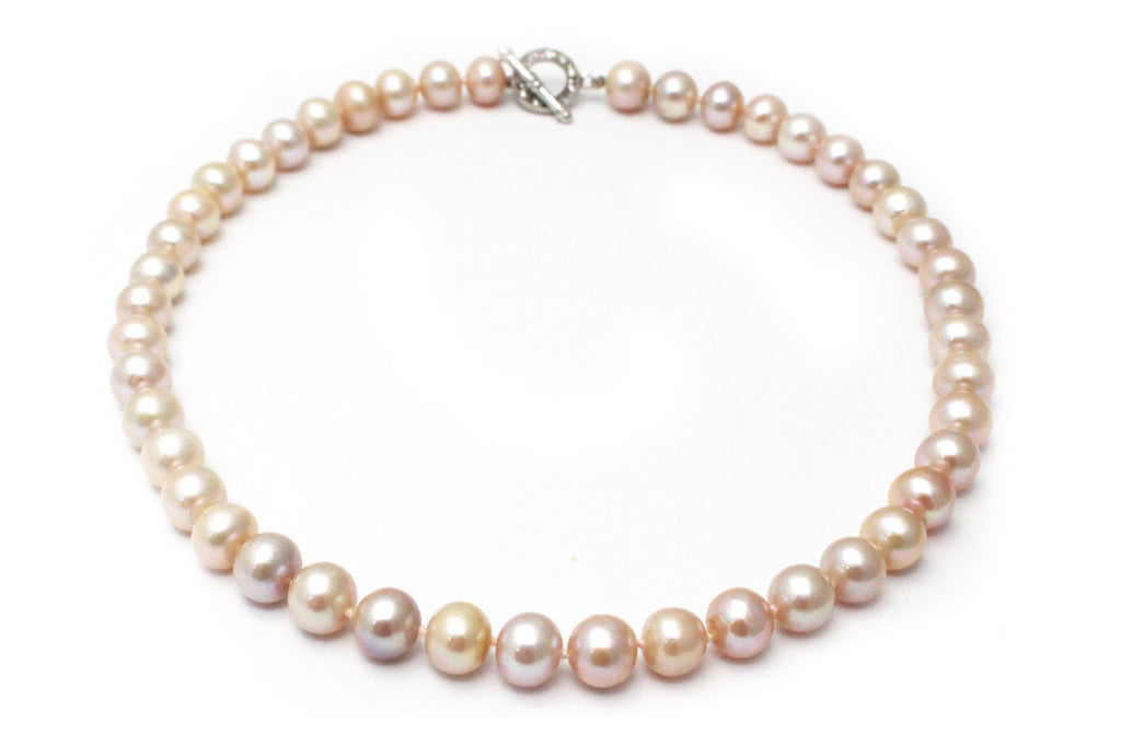 Pearl Necklace with CZ and Platinum over Sterling Silver Clasp