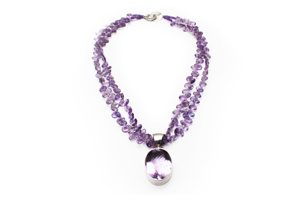 Double Strand Amethyst and Rose de France Necklace with Sterling Silver