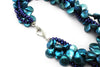 Blue Pearl Necklace with Sterling Silver and CZ Clasps